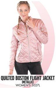 pink metallic quilted jacket